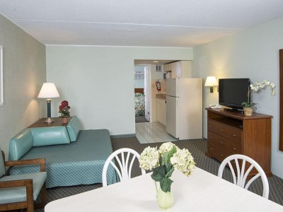 Armada by the Sea living room and kitchen in two-room ocean view hotel suite in Wildwood NJ