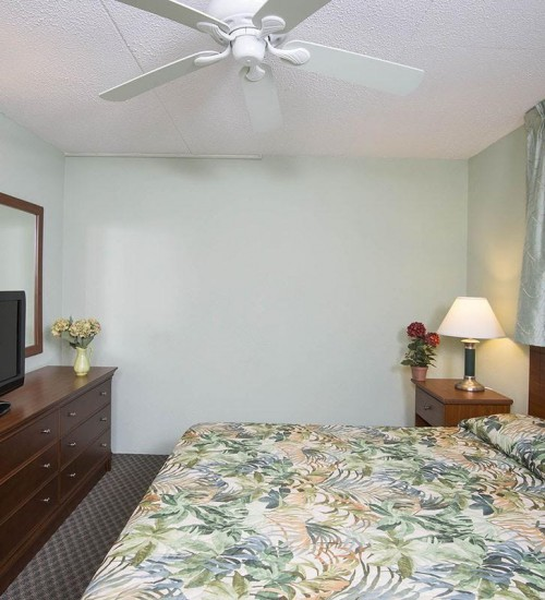 Armada by the Sea double bed in bedroom in two-room ocean view hotel suite in Wildwood NJ
