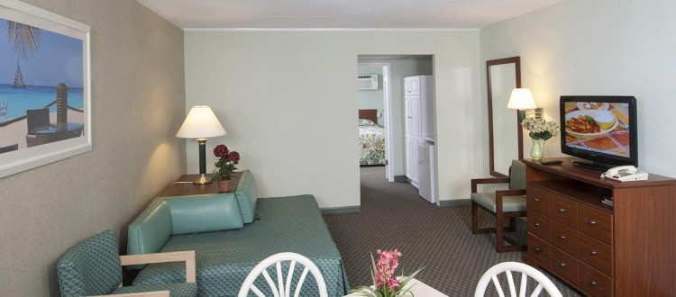 Armada by the Sea living room in ocean view two-room hotel suite in Wildwood NJ
