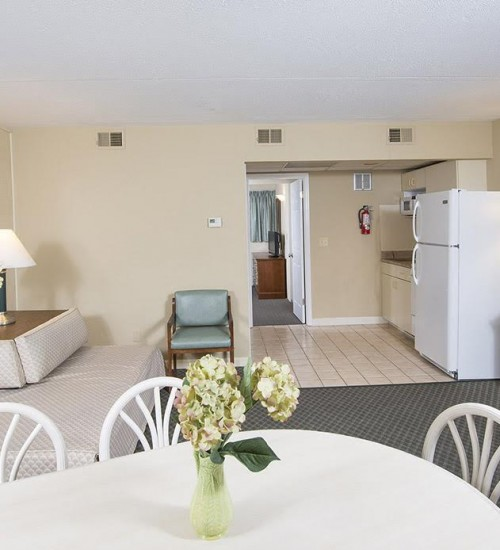 Armada by the sea living room in deluxe ocean view three-room family hotel suite in Wildwood NJ