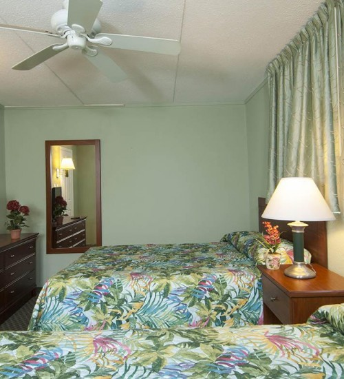 Armada by the sea two double-beds in bedroom in deluxe ocean view three-room family hotel suite in Wildwood NJ
