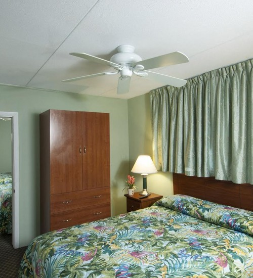 Armada by the sea double bed in bedroom in deluxe ocean view three-room family hotel suite in Wildwood NJ
