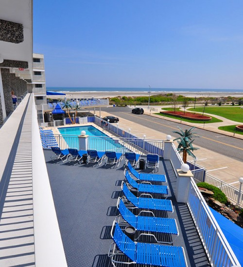 Armada by the Sea balcony view from two room oceanfront hotel suite in Wildwood NJ