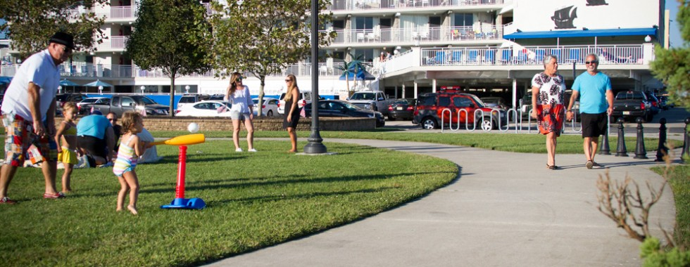 Guests at Centennial Park across from Armada by the Sea in Wildwood NJ