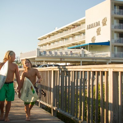 Kids walking to beach from Armada by the Sea in Wildwood NJ