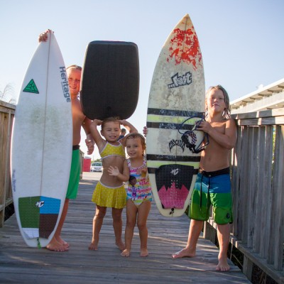 Kids and surfboards by armada by the sea in Wildwood NJ